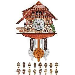 NANANA Vivid Large Cuckoo Clock Wall Cuckoo Clock, Cuckoo Clock Movement Chalet-Style, Authentic Black Forest Cuckoo Clock, 115×225×50Mm,#11