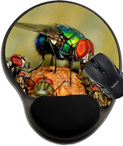 Price comparison product image MSD Mousepad Wrist Protected Mouse Pads/Mat with Wrist Support Green Bottle Fly Perched with Other Flies on a Dung Ball Image 20586099 Customized Tablemats Stain Resistance Collector Kit Kitchen Tabl