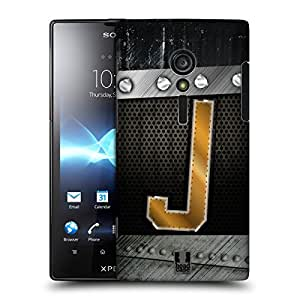 Head Case Designs J Bolted Initials Protective Snap-on Hard Back Case Cover for Sony Xperia ion LTE LT28i