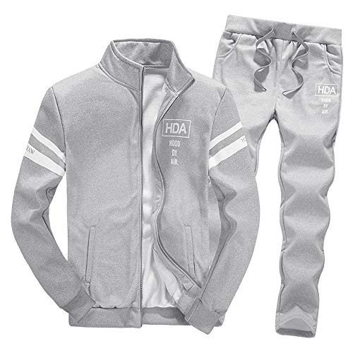 Tracksuit Sets,NRUTUP Mens Shirts Clearance Zipper Leisure Suit Tops Pants Jackets & Coats Clothing Hot(Grey,XXXL)