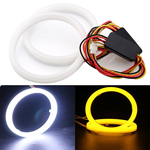 Everbright 2-Pack 95MM 3.74″9V-30V White / Amber Switchback Car Angel Eye COB Light Halo Circle Ring Head light Lamp for BMW Benz Headlight (Amber White Ring)