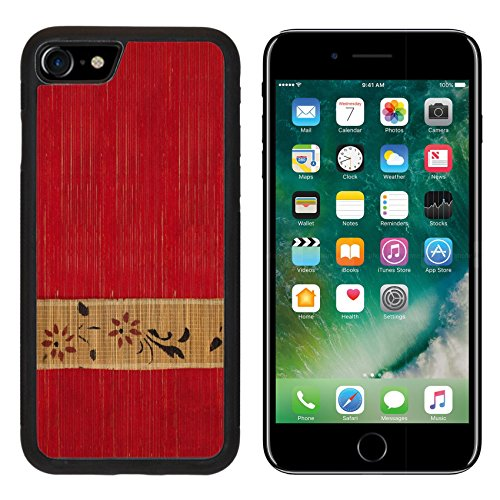 MSD Premium Apple iPhone 7 Aluminum Backplate Bumper Snap Case iPhone7 IMAGE ID: 7808254 Flower bamboo banner on red ribbed wood textured background ()