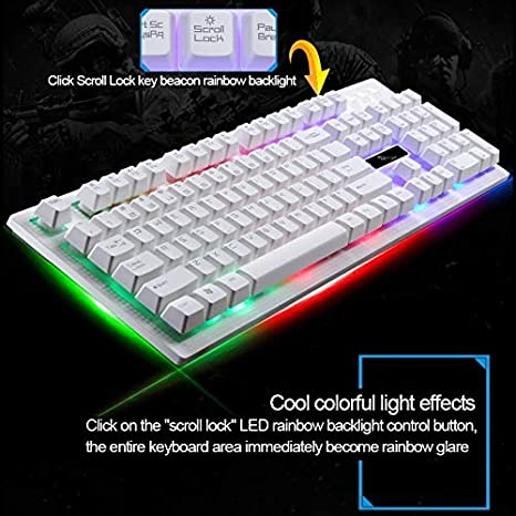 Temperature guides barometric pressure Black measurem ZGB G20 104 Keys USB Wired Mechanical RGB Backlight Computer Keyboard Gaming Keyboard ,For E-sports mechanical game keyboard Color : White
