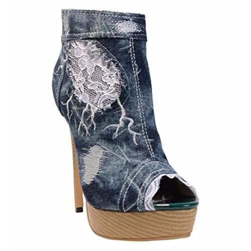 088a6fb4798 GAIHU mujeres señoras tobillo sandalias Stiletto botas de tacón alto zapatos  Boca de Pescado encaje Denim