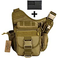 ArcEnCiel Strengthen Edition Outdoor Sacheted Professional Camera Messenger Slr Camera Multifunctional Men Bag Lightweight Durable with Patch (Coyote Brown)
