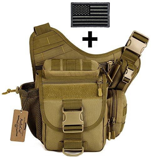 ArcEnCiel Tactical Camera Messenger Bag Military Shoulder Backpack EDC Sling Pack for Hiking Camping Trekking Motorcycling with Patch (Coyote Brown) by ArcEnCiel