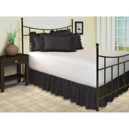 harmony lane ruffled bed skirt with split corners full black 18 inch drop bedskirt. Black Bedroom Furniture Sets. Home Design Ideas