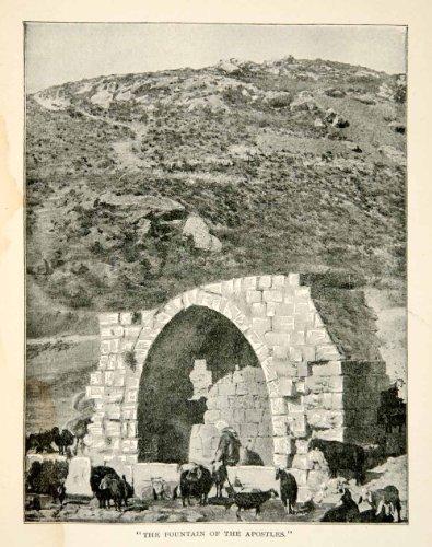 1897 Print Fountain Apostles Historical Landmark Religious Hill Holy Land Water   Original Halftone Print