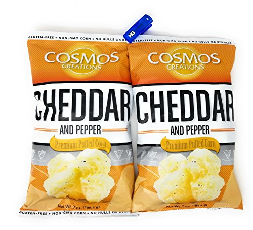 (Cosmos Creations Premium Puffed Corn 2 Pack, Gluten Free, Non GMO Snacks, Bonus One HG Grocery Bag Clip (Colors Vary) (Cheddar and Pepper, 7 Ounce))