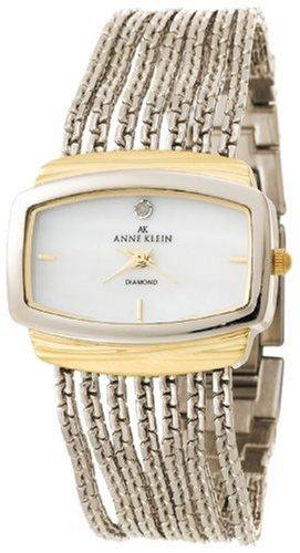 Anne Klein Women's 108401MPTT Diamond Accented Two-Tone Chain Bracelet Watch