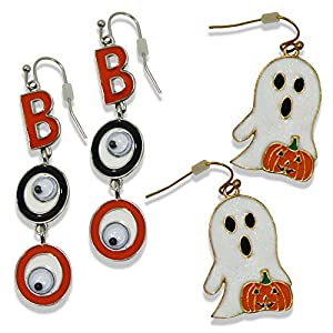Festive Halloween Earrings Dangling BOO and Sparkly Surprised Ghost with Jack O Lantern, 2 Pair Pack
