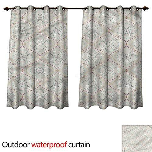 cobeDecor Trellis Home Patio Outdoor Curtain Colorful Stripes Pattern W55 x L45(140cm x 115cm) ()