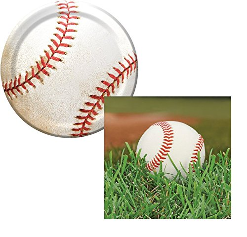 (Baseball Sports Fanatic Dessert Napkins & Plates Party Kit for 8)