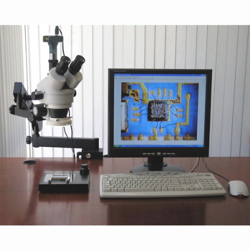 AmScope SM-6TZ-80S-3M Digital Professional Trinocular Stereo Zoom Microscope, WH10x Eyepieces, 3.5X-90X Magnification, 0.7X-4.5X Zoom Objective, 80-Bulb LED Ring Light, Clamping Articulating Arm Stand, 90V-265V, Includes 0.5X and 2.0X Barlow Lenses and 3M by AmScope