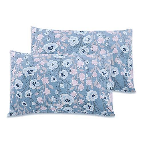 Soft Cotton Toddler Pillowcase 14 x 20, Travel Pillow Case, Blue Flower(2 Pack)
