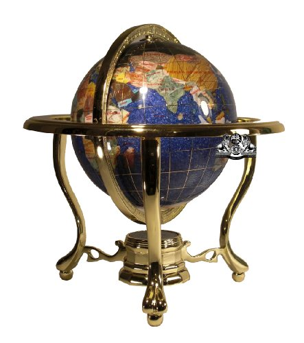 Unique Art 10-Inch Tall Table Top Blue Crystallite Ocean Gemstone World Globe with Gold Tripod Stand ()