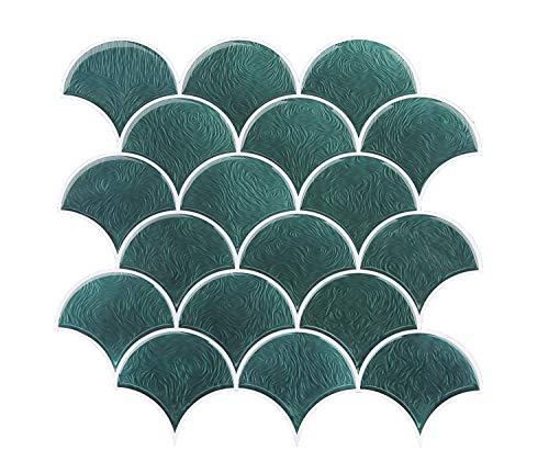 - FUNWALTILES Fish Scale Design Premium Anti Mold Peel and Stick Wall Tile Backsplash,10X10in,10Sheets,Green