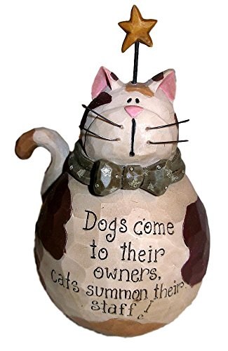 Blossom Bucket Fat Calico Cat & Gold Star w/ Cat and Dog Saying Resin Figurine