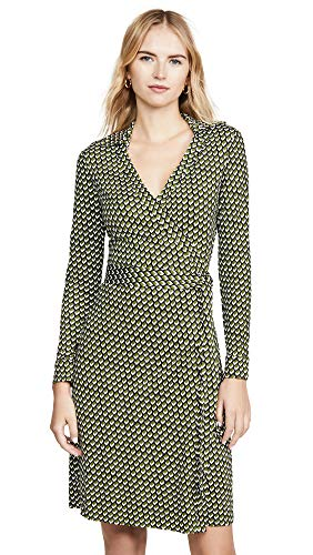 Diane von Furstenberg Women's New Jeanne Two Dress, Vintage Boxes Pesto, Green, Print, 12
