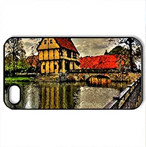 Beautiful Place - Case Cover for iPhone 4 and 4s (Houses Series, Watercolor style, Black)