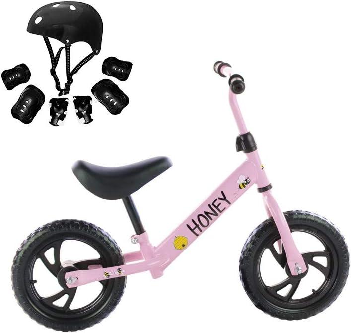 Grupo K-2 Bicicleta sin Pedales con sillín Regulable Correpasillos Bicicleta para Niños Honey con Casco y Protecciones