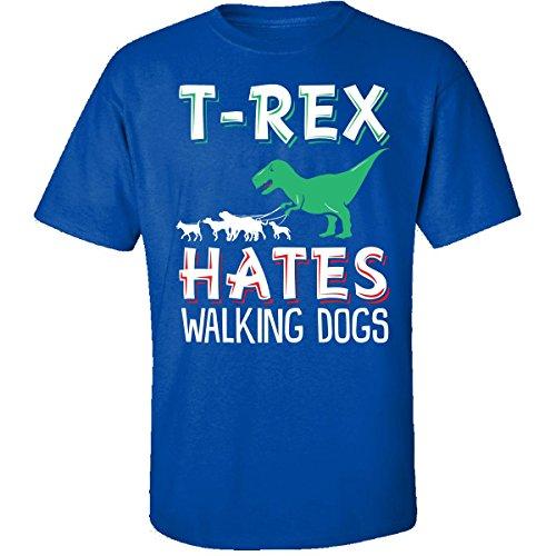 Penguin Walking T-shirt (T-rex Hates Walking Dogs - Adult Shirt 3xl Royal)