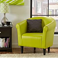 Zipcode Contemporary Club Chair - This Faux Leather Barrel Seat Is a Perfect Addition to Your Living Room or Bedroom - This Accent Furniture Is Also Made of Wood - Satisfaction Guaranteed! (Green)