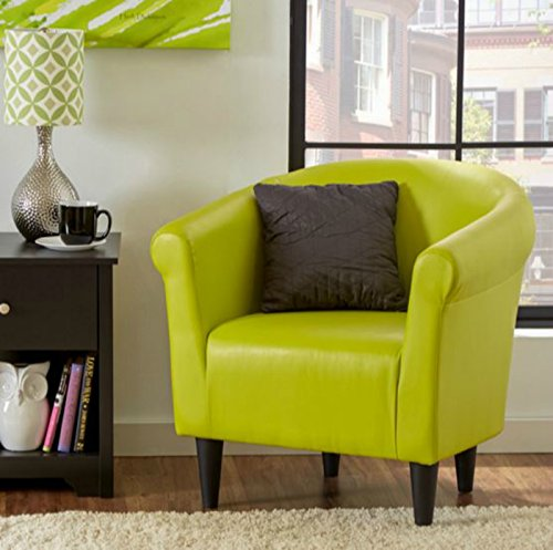 Zipcode Contemporary Club Chair – This Faux Leather Barrel Seat Is a Perfect Addition to Your Living Room or Bedroom – This Accent Furniture Is Also Made of Wood – Satisfaction Guaranteed! (Green) Review