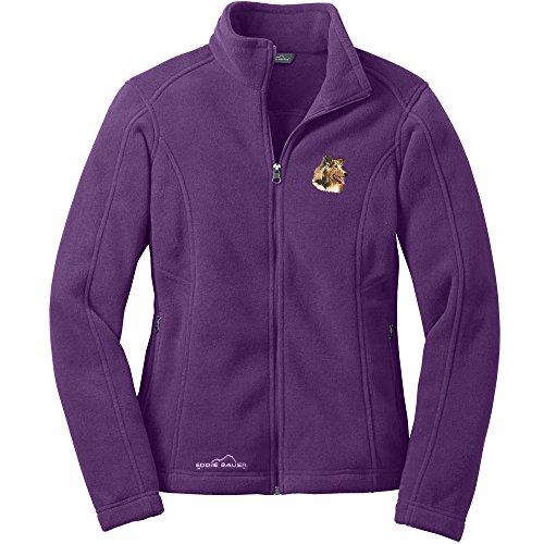 (Cherrybrook Dog Breed Embroidered Ladies Eddie Bauer Fleece Jacket - X-Small - BlackBerry - Collie)