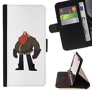 BullDog Case - FOR/Samsung Galaxy S6 / - / BIG MAN BELLY RED BEARD DRAWING ART /- Monedero de cuero de la PU Llevar cubierta de la caja con el ID Credit Card Slots Flip funda de cuer
