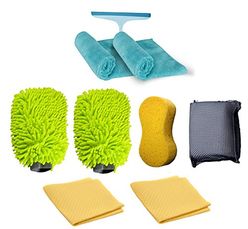 Car Wash Gift Set Includes Two Microfiber Mitts, One Large Sponge, Two Microfiber Cloth, Two Chamois Cloth, One Bug Scrub Sponge, One Window Squeegee
