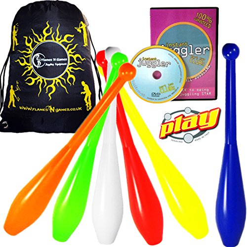 PLAY PRIMA Pro 1 Piece Juggling Clubs Set of 3 (9-Colour-Variations) + INSTANT Club DVD + Flames N Games Travel Bag! UV Trainer Club Juggling Set Ideal For Beginners, Schools -
