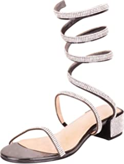6aca6234af1 Cambridge Select Women s Coil Spiral Wraparound Ankle Crystal Rhinestone  Chunky Block Heel Sandal