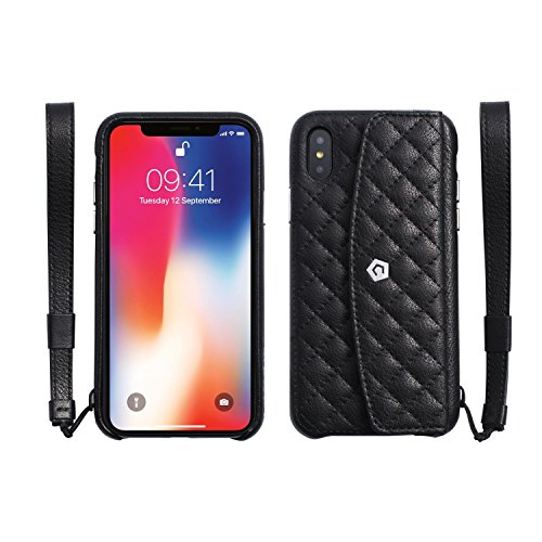 Onyx Eyes Pin (Apple iPhone X Case, Cobble Pro Quilted Genuine Leather Wallet Women Protective Case Cover Slim Fit Design with ID Credit Card Slot Holder For Apple iPhone X 5.8