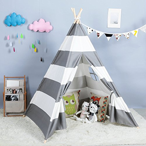 Kids Teepee Indoor Play Tent – Large Cotton Canvas Children Indian Tipi Playhouse with Carry Case by Steegic