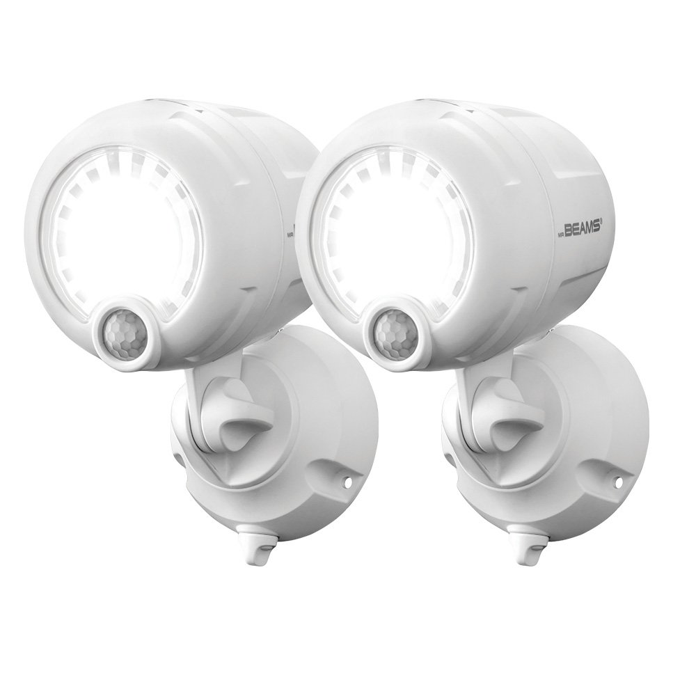Mr. Beams MB360XT Wireless Battery-Operated Outdoor Motion-Sensor-Activated 200 Lumen LED Spotlight, White, 2-Pack