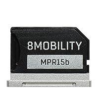 8MOBILITY iSlice Aluminium Micro SD Speicheradapter für MacBook Retina 15 '' A1398 (Ende 2013 bis 2016) - Silber