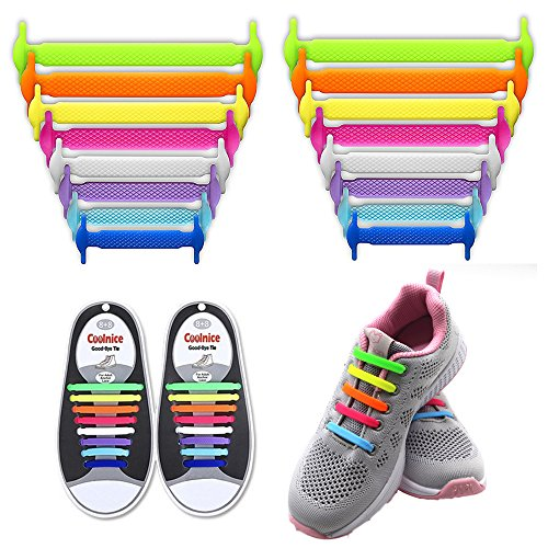 LattoGe No Tie Shoelaces for Kids and Adults - Slip On Tieless Lace Waterproof Silicone Flat Elastic Shoe Laces Strings for Athletic Running Sneakers Boots Board and Casual Shoes (Adults Colorful)