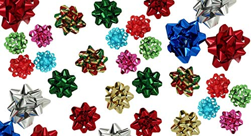 Christmas Pull Bows for Gifts (54 pc / 3 Sizes); Boxed to prevent damage! Peel N Stick, Assortment Design ()