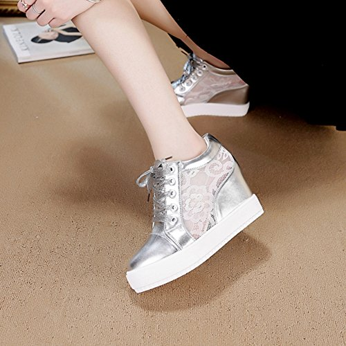 Shoes Wedges Casual Lace Increase Fashion Platform Women's Silver Sneakers Sneakers Internal Breathable Uppers dqw8z8BF