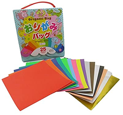 Origami Paper Case 6 1/4 x 6 1/4 and Assorted Colors Origami Paper (25 Sheets)