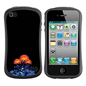 LASTONE PHONE CASE / Suave Silicona Caso Carcasa de Caucho Funda para Apple Iphone 4 / 4S / Blue Orange Minimalist Bouquet Flower