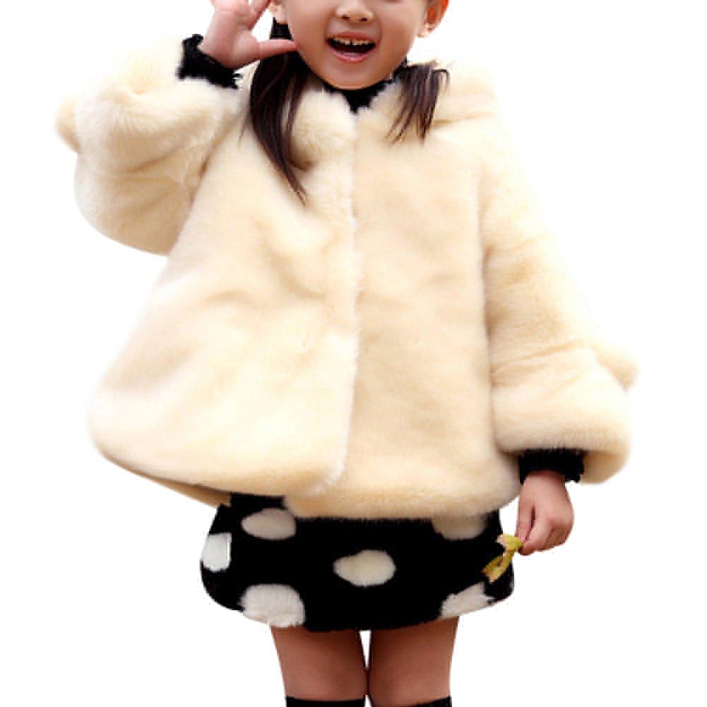 Cappotti Da Bambina Ragazza Cape Cappuccio Pelliccia Faux Cappotto Giacche