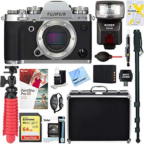 Fujifilm X-T3 26.1MP Mirrorless Digital Camera - Body Only (Silver) + 64GB Memory & Flash Accessory Bundle