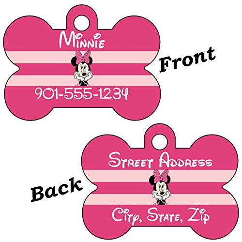 Disney Minnie Mouse Double Sided Pet Id Tag for Dogs & Cats Personalized with 4 Lines of Text for $<!--$10.97-->