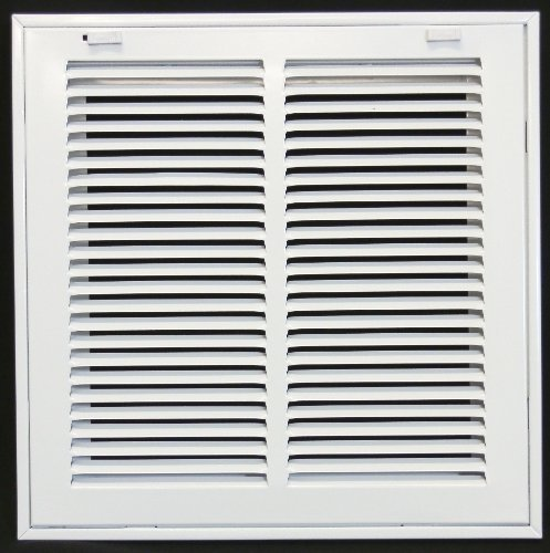 10 X 10 Steel Return Air Filter Grille for 1 Filter - Removable Face/Door - HVAC DUCT COVER - Flat Stamped Face - White [Outer Dimensions: 12.5w X 12.5h]