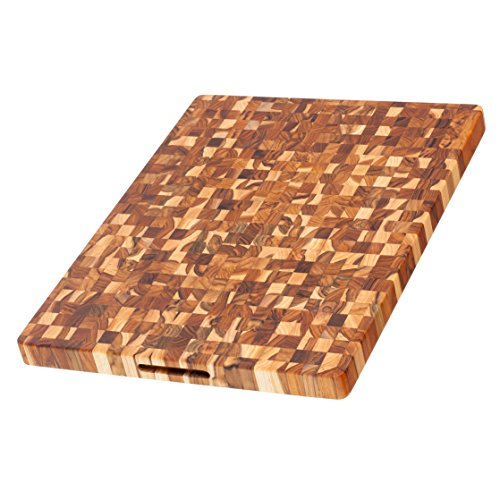 (Teak Cutting Board - Rectangle End Grain Butcher Block (24 x 18 x 1.5 in.) - By)