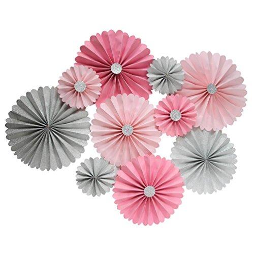 Pink Rosette (Mybbshower Pink Silver Paper Rosette Wedding Party Background Decoration Kit Pack of 10)