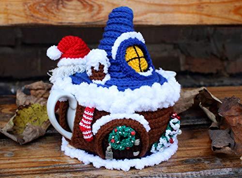 House of Santa Claus, Fairy house teapot cosy, Tea cozy, Fairytale house, Teapot warmer, Christmas decor, Winter decor, Small teapot ()