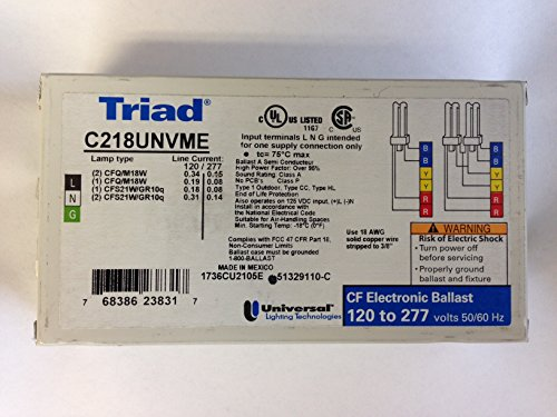 20 PIECES UNIVERSAL TRIAD C218UNVME 120-277V ELECTRONIC BALLAST FOR 2 CFQ/TR18W LAMP by Triad